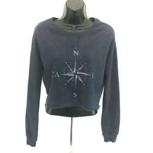 Hollister Crop Top SweatShirt COMPASS Womens Sz XS